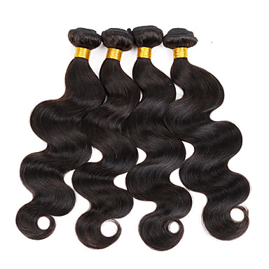 טווה שיער אדם שיער מלזי Body Wave 4 חלקים שוזרת שיער