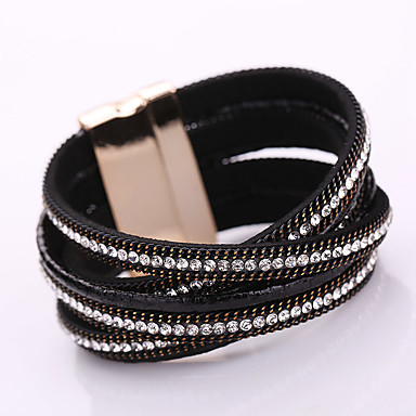Bracelet Bracelets Bracelets en cuir Alliage Cuir Strass Forme Géométrique Mode Bohemia style Adorable Soirée Quotidien Décontracté Bijoux