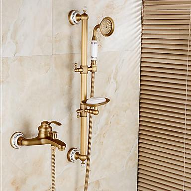 Grifo de ducha Grifo de bañera - Arte Decorativa / Retro Bronce Envejecido Conjunto Central Válvula Cerámica