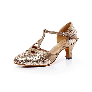 Damen Schuhe für den lateinamerikanischen Tanz / Salsa Tanzschuhe Glitzer Sandalen Schnalle Blockabsatz Keine Maßfertigung möglich Tanzschuhe Golden / Innen / Professionell