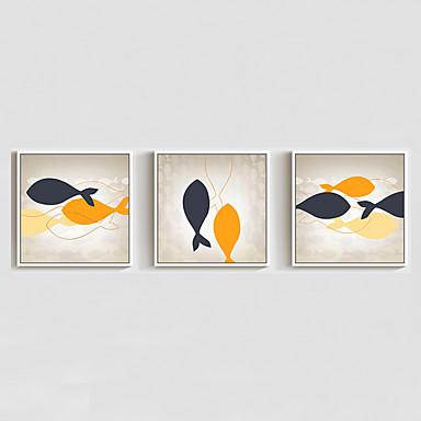 Pinturas a Óleo Emolduradas Abstrato Animais Desenho Animado Arte de Parede, Poliestireno Material com frame Decoração para casa Arte