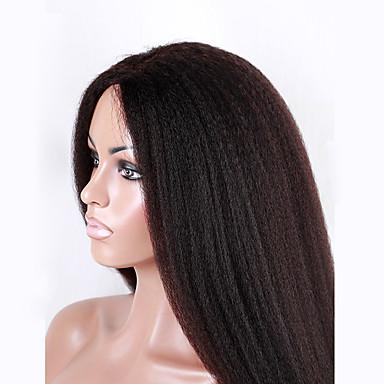 Echthaar Vollspitze Perücke Glatt Kinky Glatt 130% Dichte 100 % von Hand geknüpft Afro-amerikanische Perücke Natürlicher Haaransatz Kurz