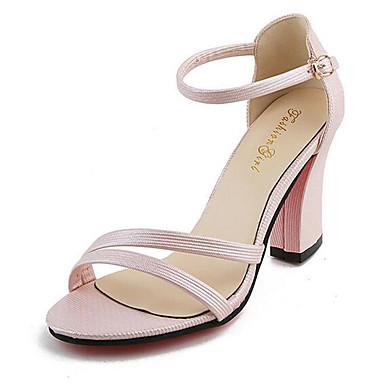 Mulheres Sapatos Courino Verão Salto Robusto Presilha para Casual Social Branco Preto Rosa claro