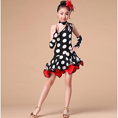 ריקוד לטיני שמלות בגדי ריקוד ילדים הופעה פוליאסטר צד עטויים מנוקד חלק 1 בלי שרוולים גבוה שמלה