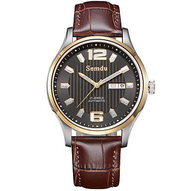 Masculino Relógio de Moda Automático - da corda automáticamente Impermeável / Noctilucente Couro Banda Preta / Marrom marca