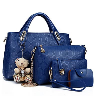 abordables Sacs-Femme PU Cabas / Protection Ensembles de sacs Couleur Pleine Lot de 4 pcs Rouge / Bleu / Brun claire