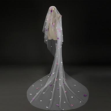 Véus de Noiva Uma Camada Véu Catedral Borda com aplicação de Renda Tule Marfim