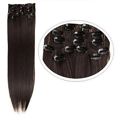 hesapli Sentetik Ek Saçlar-Sentetik Saç Ek saç Düz Klasik Klipsli Günlük Yüksek kalite