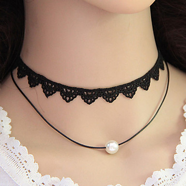 cheap Necklaces-Women's Choker Necklace Layered Necklace Personalized European Double-layer Fashion Pearl Imitation Pearl Lace Black Necklace Jewelry For Party Daily Casual Work