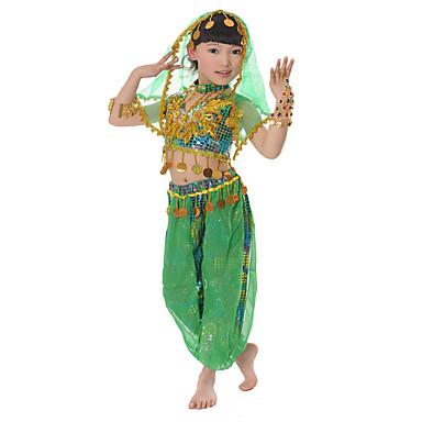 Břišní tanec Úbory Děti Šifón Flitry 3 kusy Bez rukávů Spuštený Vrchní část oděvu Kalhoty Vlasové ozdoby
