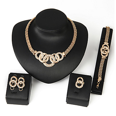 cheap Jewelry Sets-Women's Cubic Zirconia Link / Chain Bib Jewelry Set Africa Include Necklace Earrings Bracelet Ring Silver / Golden For Wedding Party Daily Casual / Rings / Bracelets & Bangles