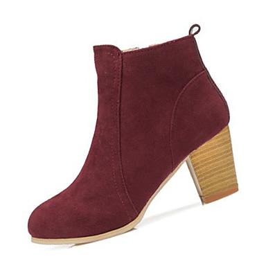 Damen Schuhe PU Winter Modische Stiefel Stiefel Blockabsatz für Normal Schwarz Rot Mandelfarben