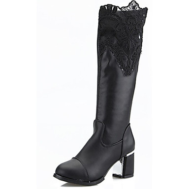Damen-Stiefel-Lässig-PU-Blockabsatz-Modische Stiefel-Schwarz
