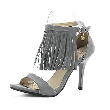 Femme Chaussures Laine synthétique Printemps Eté Talon Aiguille Boucle Gland Pour Décontracté Habillé Soirée & Evénement Gris Marron Kaki