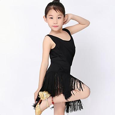 Dansetøj til børn Kjoler Ydeevne Polyester / Mælkefiber Kvast Kort Ærme Naturlig Kjole / Latin Dans