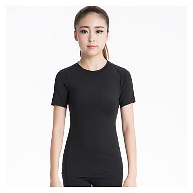 Mulheres Camiseta de Corrida Manga Curta Secagem Rápida Respirável Compressão Redutor de Suor Elástico Pulôver Camiseta Blusas para Ioga