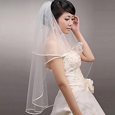 Deux couches Bord ruban Voiles de Mariée Voiles Blush Voiles longueur coude Voiles bout du doigt Avec Perles Tulle