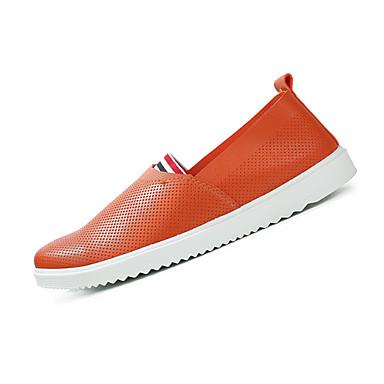 Herrn Schuhe Stoff Kunstleder Sommer Komfort Loafers & Slip-Ons Walking für Normal Weiß Schwarz Orange