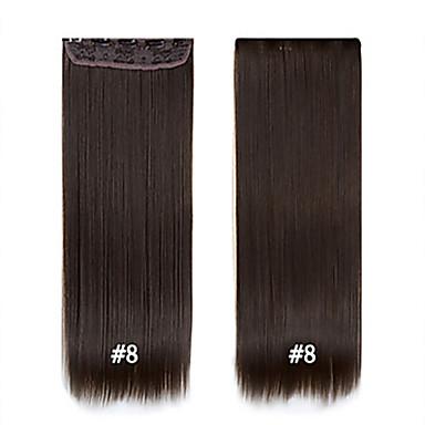 economico Extension di capelli sintetici-Capelli sintetici Estensione capelli Liscio Classico Con clip Quotidiano Alta qualità