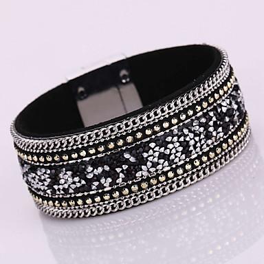 Femme Bracelets en cuir Bracelets Bohème Mode Adorable Cuir Strass Imitation Diamant Alliage Forme Géométrique Bijoux Soirée Quotidien
