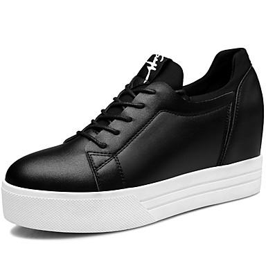 kvinners sko syntetisk / tyll vår / høst / vinter villvin joggesko atletisk / uformell plattform blonder-up svart / hvit