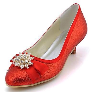 Damen Schuhe Glanz Frühling Sommer Niedriger Heel Schleife Paillette Glitter für Hochzeit Kleid Party & Festivität Rot Blau Rosa Golden