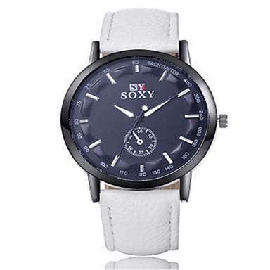 SOXY Masculino Relógio Elegante Quartzo / Couro Banda Legal Casual Preta Branco