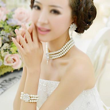 Mujer Conjunto de joyas - Perla Artificial Moda Incluir Los sistemas nupciales de la joyería Beige Para Boda Fiesta