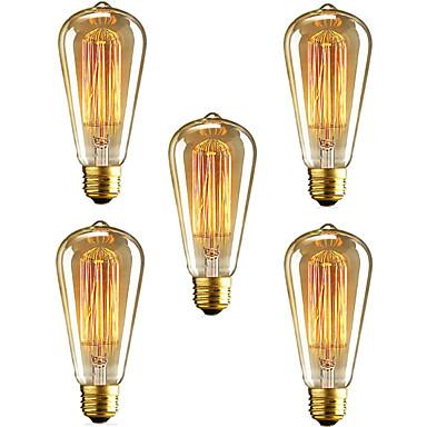 5 Stück 40W E26/E27 ST64 2300 K Glühbirne Vintage Edison Glühbirne AC110 AC220 Wechselstrom 110-220 V