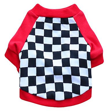 Kat Hund T-shirt Hundetøj Geometrisk Sort Rød Bomuld Kostume For kæledyr Herre Dame Mode