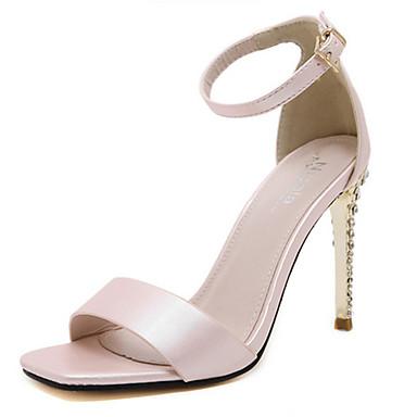 kvinners sko mikrofiber sommer hæler / åpen tå sandaler uformell stiletthæl glitrende glitter pink