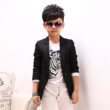 cheap Boys' Jackets & Coats-Boys' Cool Daily Solid Colored Long Sleeve Cotton Suit & Blazer Black