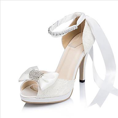 女性-ウェディング ドレスシューズ パーティースティレットヒール プラットフォーム-プラットフォーム-サンダル-アイボリー ホワイト