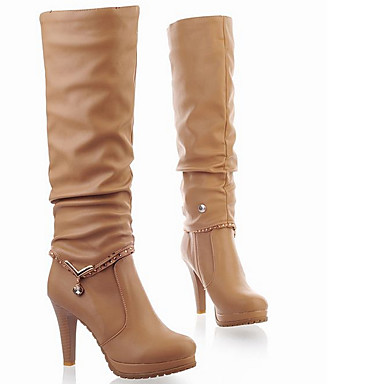 Sapatos Couro Ecológico Inverno Outono Botas da Moda Botas Salto Cone Botas Cano Alto Tachas Rendado para Casual Preto Bege