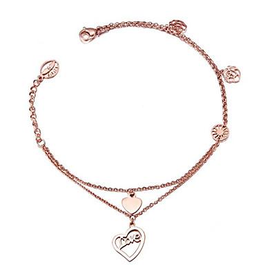 Damen Ketten- & Glieder-Armbänder Bettelarmbänder Modisch Einstellbar bezaubernd Edelstahl Rose Gold überzogen 18K GoldKreisform Herzform