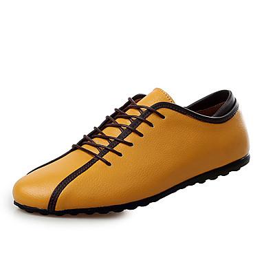 Heren Sneakers Lente Herfst Comfortabel Leer Casual Platte hak Veters Blauw Geel Wit Overige