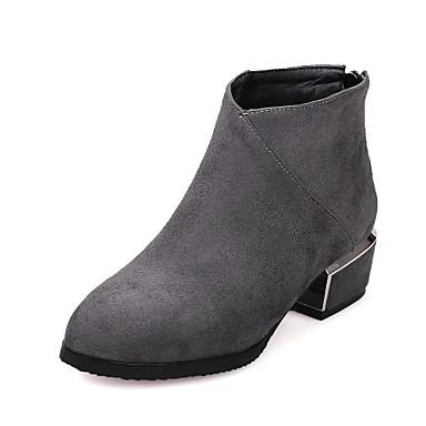 Støvler-Kunstlæder-Modestøvler-Dame-Sort Rød Grå-Formelt Fritid-Tyk hæl
