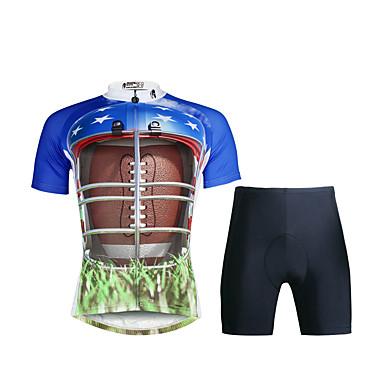 ILPALADINO Wielrenshirt met shorts Heren Korte Mouw Fietsen PakkenSneldrogend Ultra-Violetbestendig Ademend Compressie Lichtgewicht