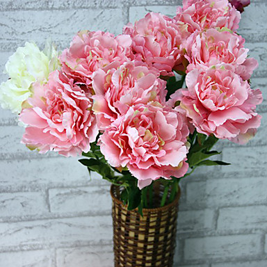 1 Ramo Poliéster Plástico Peônias Flor de Mesa Flores artificiais