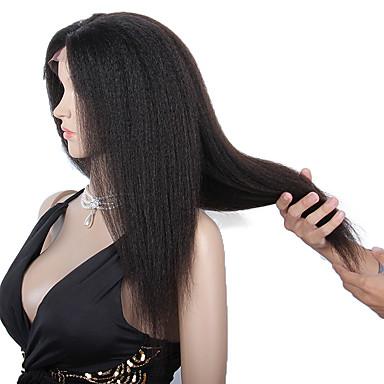 Echt haar Kanten Voorkant Pruik Recht Kinky Recht 130% 150% Dichtheid 100% handgebonden Afro-Amerikaanse pruik Natuurlijke haarlijn Kort