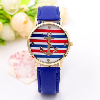 Dames Modieus horloge Vrijetijdshorloge Kwarts / Leer Band Streep Vrijetijdsschoenen Goud Wit Rood Blauw