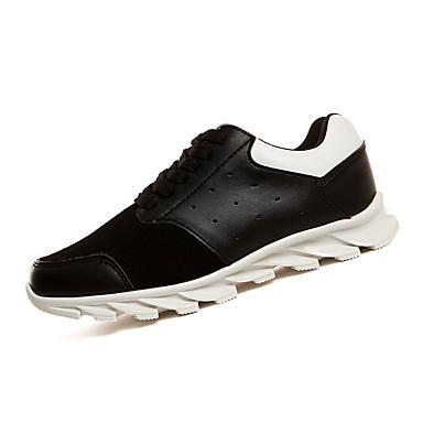 Sneakers-Kunstlæder PU-Komfort-Herre-Sort Hvid Sort og Hvid-Sport-Flad hæl