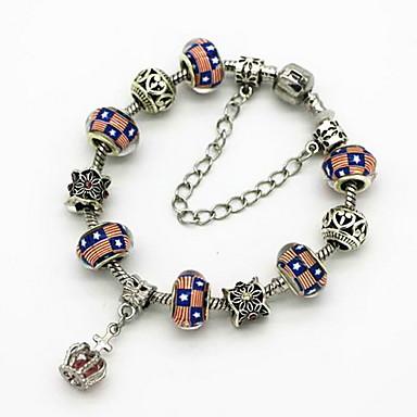 Naisten Timanttijäljitelmä Crown Shape Amuletti-rannekorut - Ylellisyys / Muoti / Helmillä koristeltu Crown Shape Vihreä / Sininen /