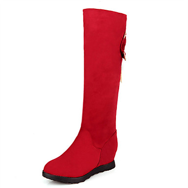 Støvler-FleeceDame-Sort Blå Rød-Bryllup Udendørs Fritid-Kilehæl
