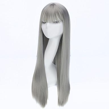 2016 fashion rett lang parykk naturlig anime hår cosplay parykk syntetiske parykker for kvinner grå farge
