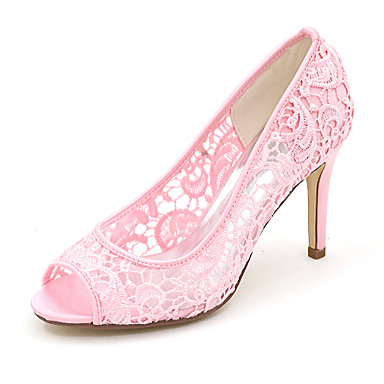 Chaussures mariage Noir Eté Basique de Dentelle ouvert Femme Rose Chaussures Aiguille Escarpin Printemps 06414105 Talon Bout Ivoire wXOYtx8xq