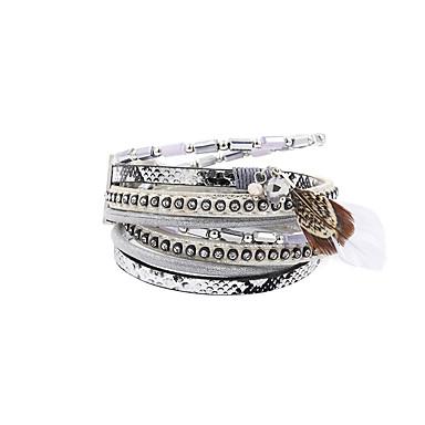 Dames Bedelarmbanden Wikkelarmbanden Lederen armbanden Dubbele laag Modieus Vintage Bohemia Style Luxe SieradenKristal Leder Acryl Strass