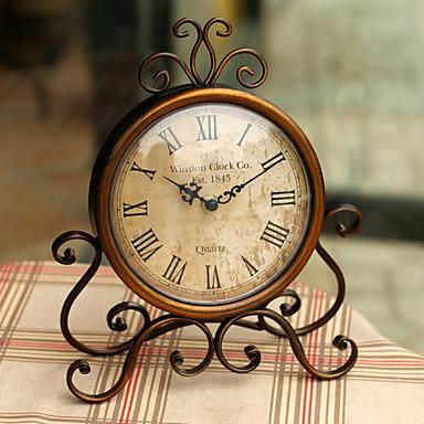 (Random väri) muoti vuosikerta rauta työpöytäkellon hiljainen kello liikkeen käsityöt sisustuksessa kotona katsella