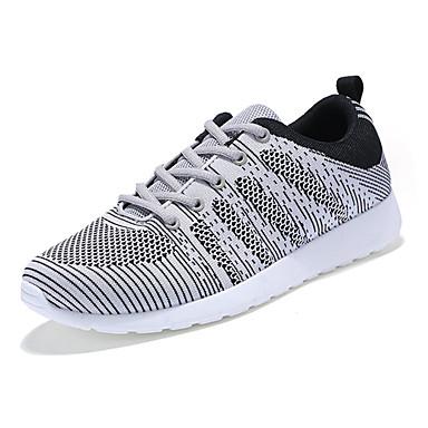 Heren Sneakers Lente Herfst Comfortabel Tule Casual Platte hak Veters Zwart Blauw Grijs Wandelen