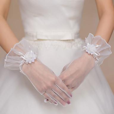 Tule Polyester Polslengte Handschoen Bruidshandschoenen Feest/uitgaanshandschoenen With Bloemen